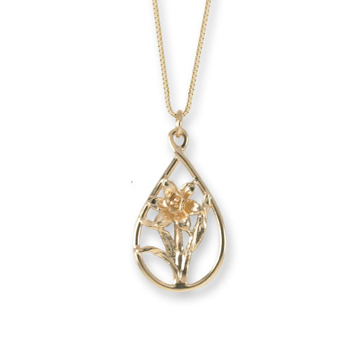 Graceful 14kt Daffodil Teardrop Pendant