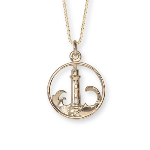 Sterlin Silver 14kt Lighthouse Pendant