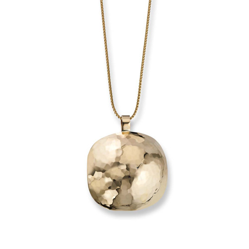 Gently Domed and hard hammered 14kt Reflections Pendant