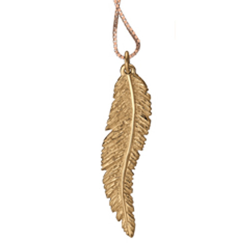14kt Feather Pendant Symbolizes Trust and Wisdom