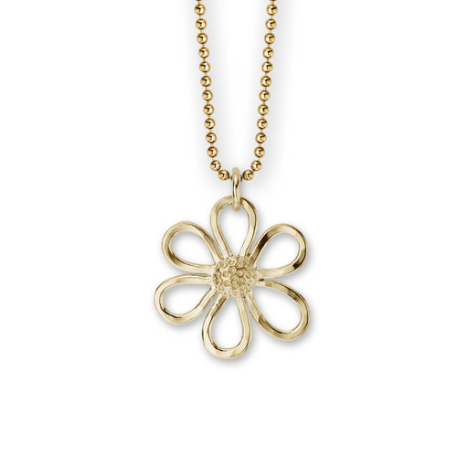 14kt Petite Daisy Pendant with six handcrafted petals