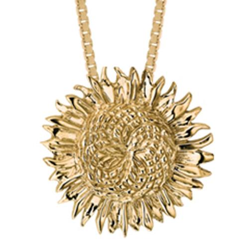 14kt Shimmering Sunflower Pendant