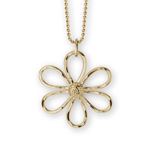 14kt Daisy Pendant with six handcrafted peatls