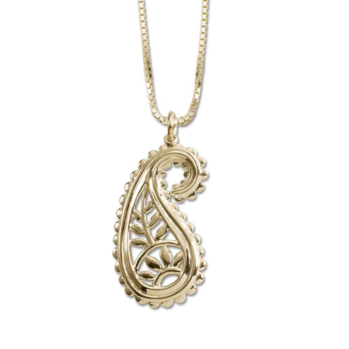 14kt Gold Taj Pendant with a scalloped edge