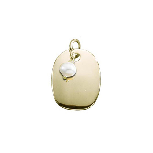 14kt Gold Oval Plaque with Freshwater Pearl Pendant