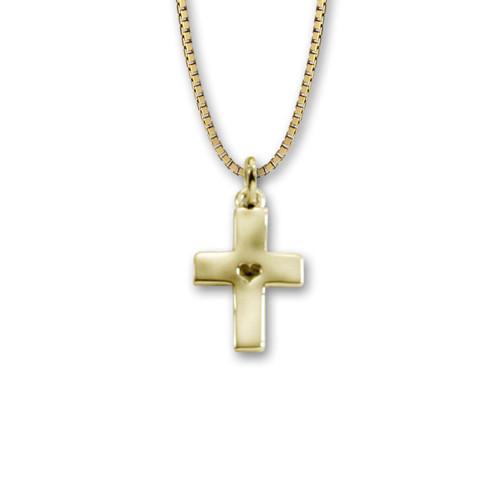 14kt Mini Hammered Cross