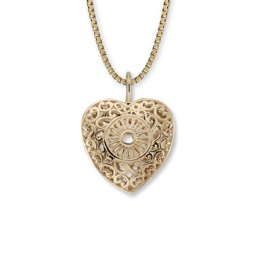 14kt Victorian Lace Heart Pendant