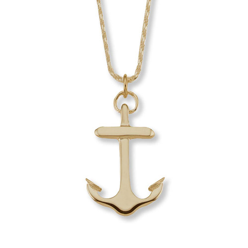 Large 14kt Gold Anchor Pendant