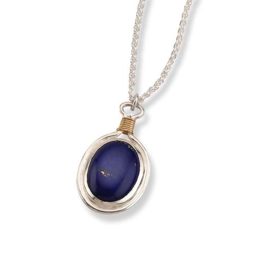 Sterling & 14kt Lapis Lazuli Pendant