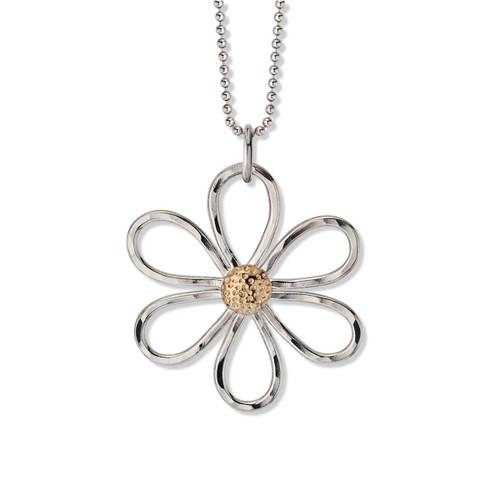 Sterling & 14kt Daisy Flower Pendant