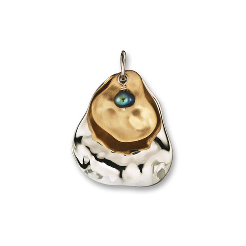 Peacock Sterling & 14kt Pearl Oyster Pendant