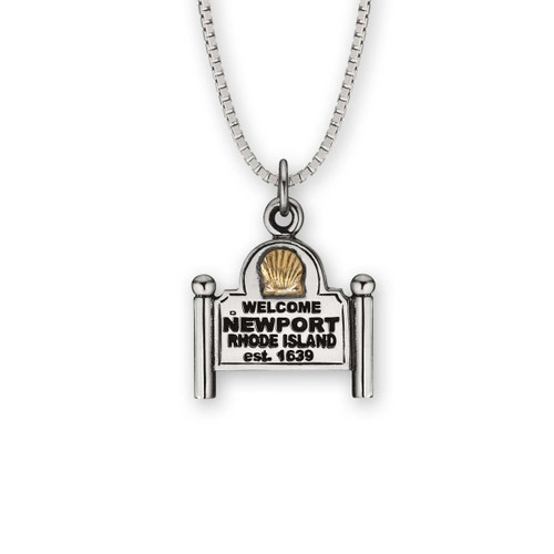Sterling & 14kt Newport Sign Pendant