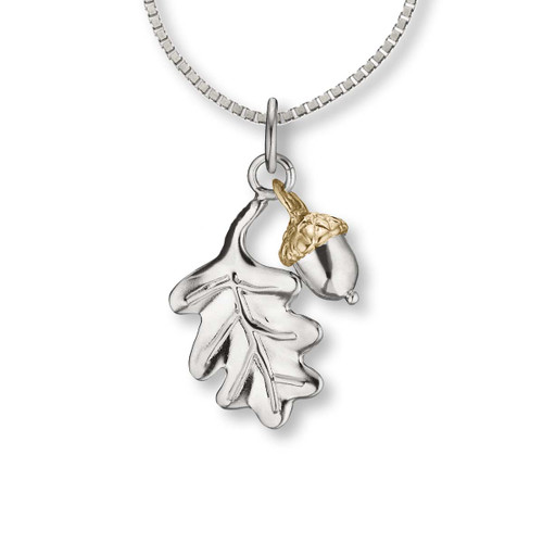 Sterling & 14k Oak Leaf & Acorn Pendant