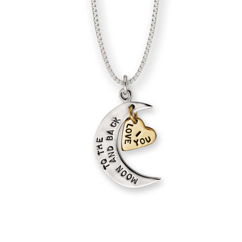 Lovely Sterling & 14kt I Love You to the Moon & Back Pendant