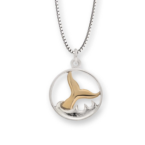Attractive Sterling & 14kt Whale Watch Pendant