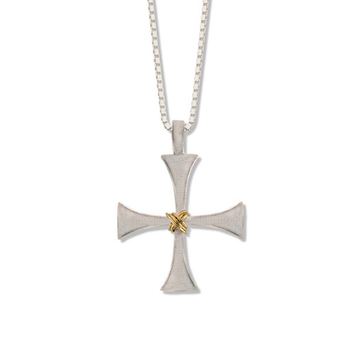 Sterling & 14kt Byzantine Cross with four Sterling silver arms