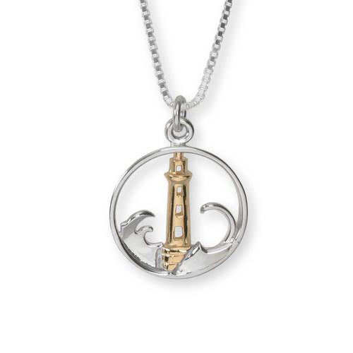Handcrafted Sterling & 14kt Gold Lighthouse Pendant
