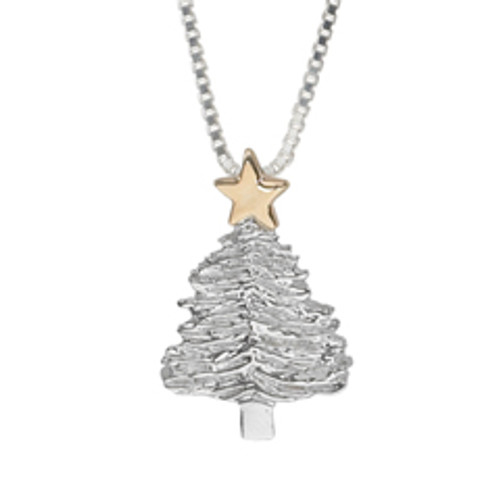 Sterling Silver & 14kt Gold Merry Christmas Tree Pendant
