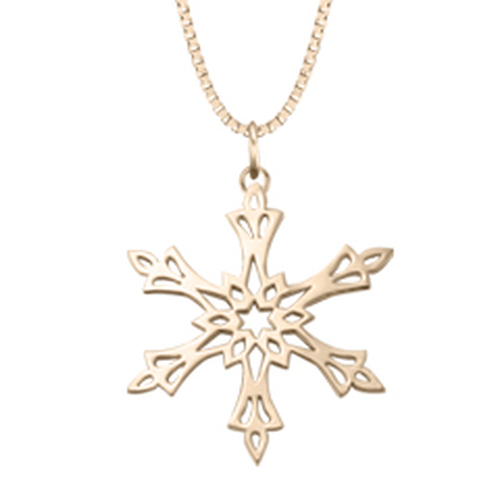 2002 14kt Gold Snowflake Inspired Pendant