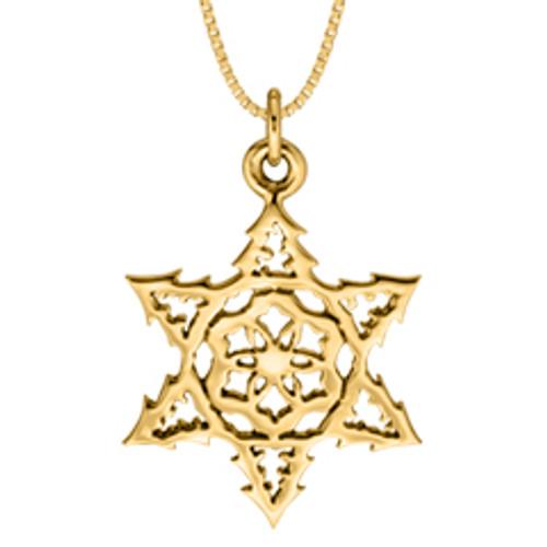 2015 14kt Gold Snowflake Symbolized Pendant