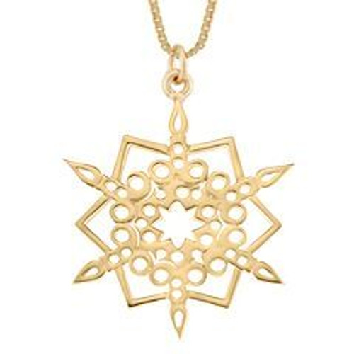 Traditional 14kt Gold 2016 Snowflake Candlelight Pendant