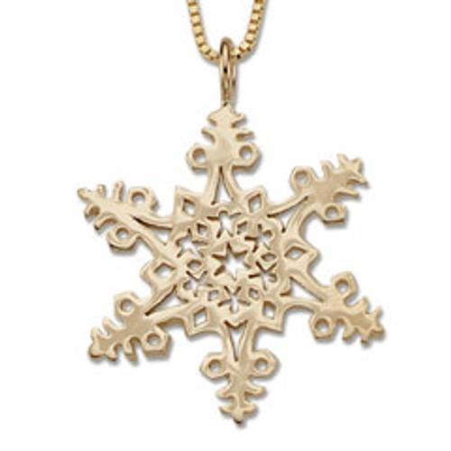 14kt Gold 2005 Snowflake Circle Pendant