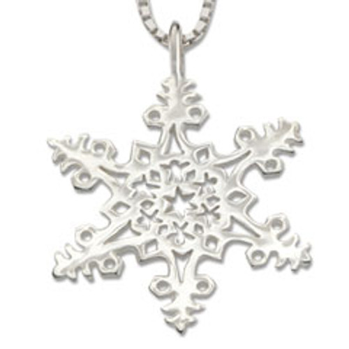 Sterling Silver 2005 Snowflake Leaf Pendant