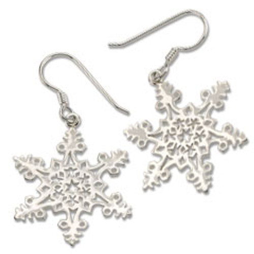 Sterling Silver 2005 Snowflake Earrings for Good luck, wish and unity