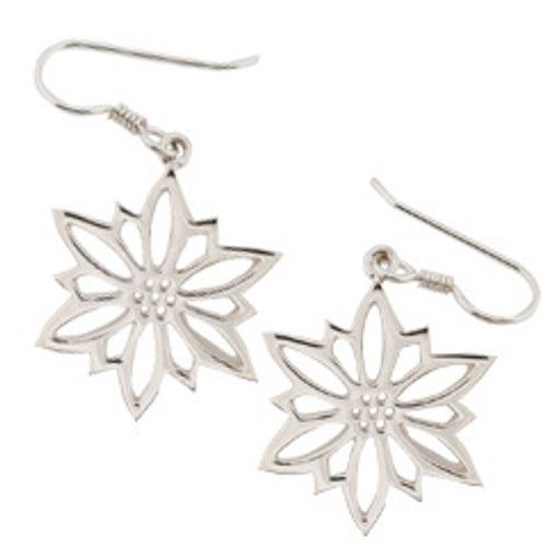 Sterling Silver 2009 Snowflake Earrings represents Traditional Holiday Flowers