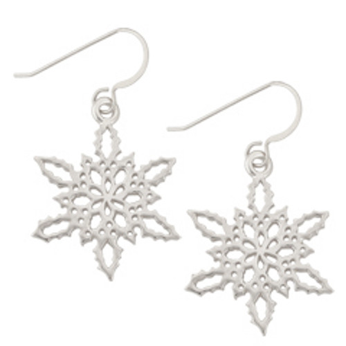 Sterling Silver 2010 Snowflake Earrings in a Pattern of Holly Leaves and Berries
