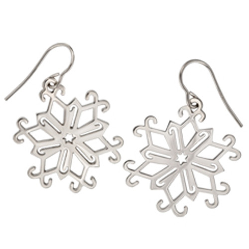 Sterling Silver 2013 Candy Cane Snowflake Earrings