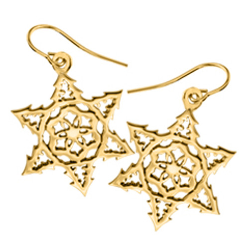 14kt 2015 Snowflake Earrings with Earwire