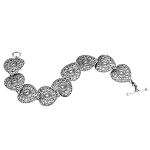 Sterling Silver Victorian Lace Heart Bracelet with toggle Closure