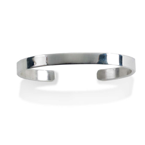 Plated Polished ID Cuff Childs Bangle Gift Sterling Silver Rhod
