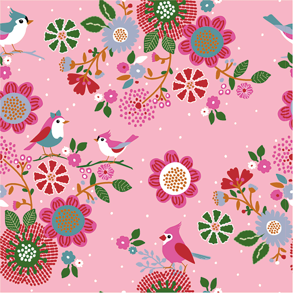 Birds on Pink French Terry