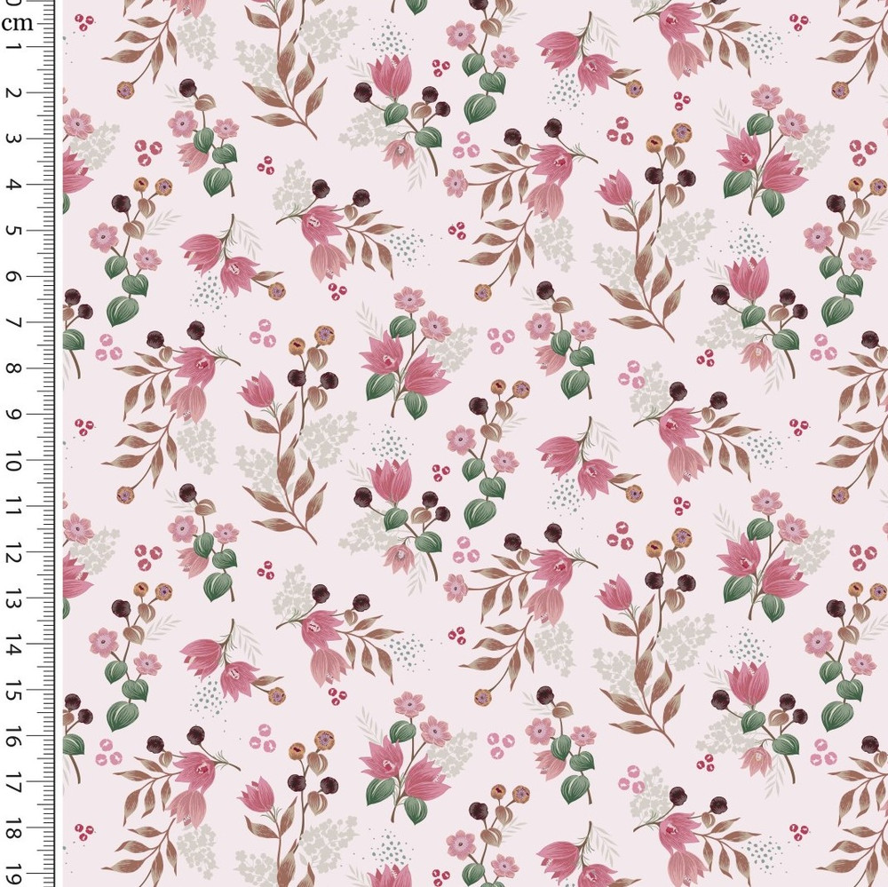 woodsy floral on pink