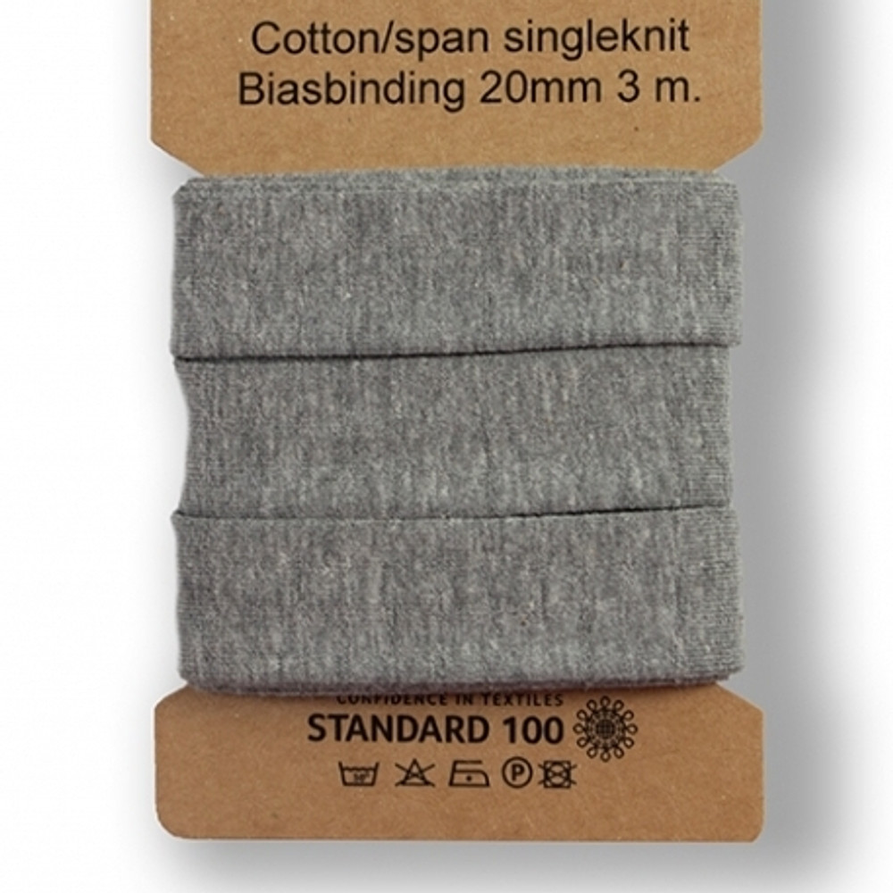 Gray Melange Cotton Lycra Knit Bias Tape- 3 Meter Package