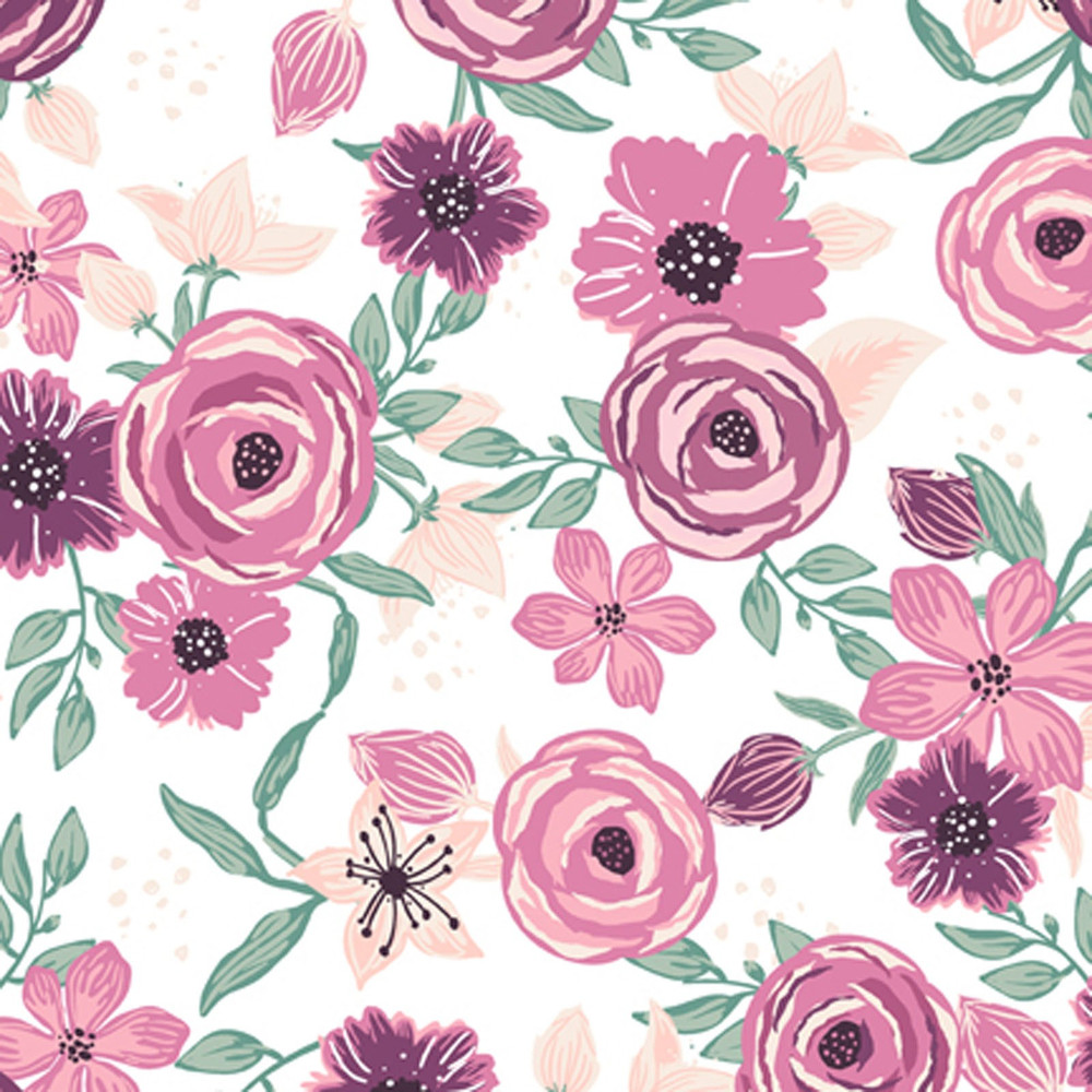 Pink Flowers on White Polyester Jersey