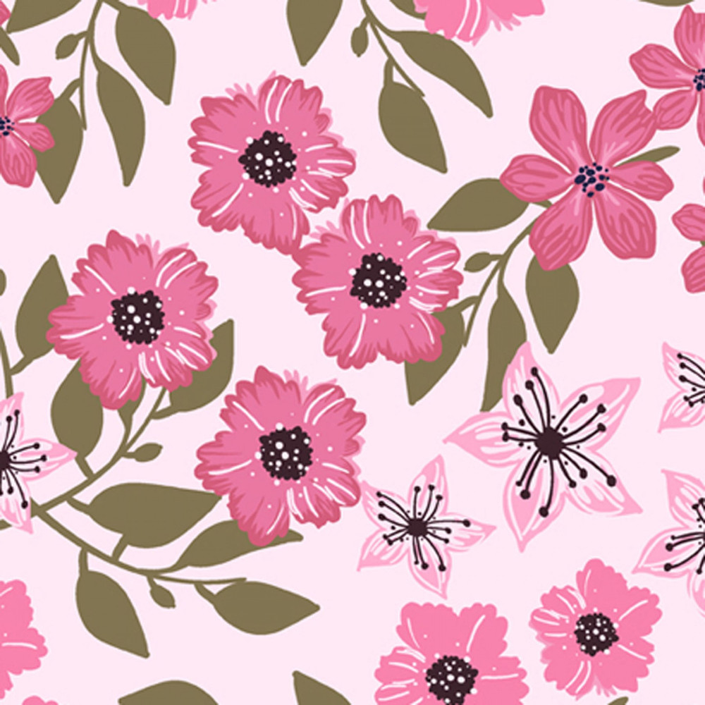 Flowers on Pink Polyester Jersey