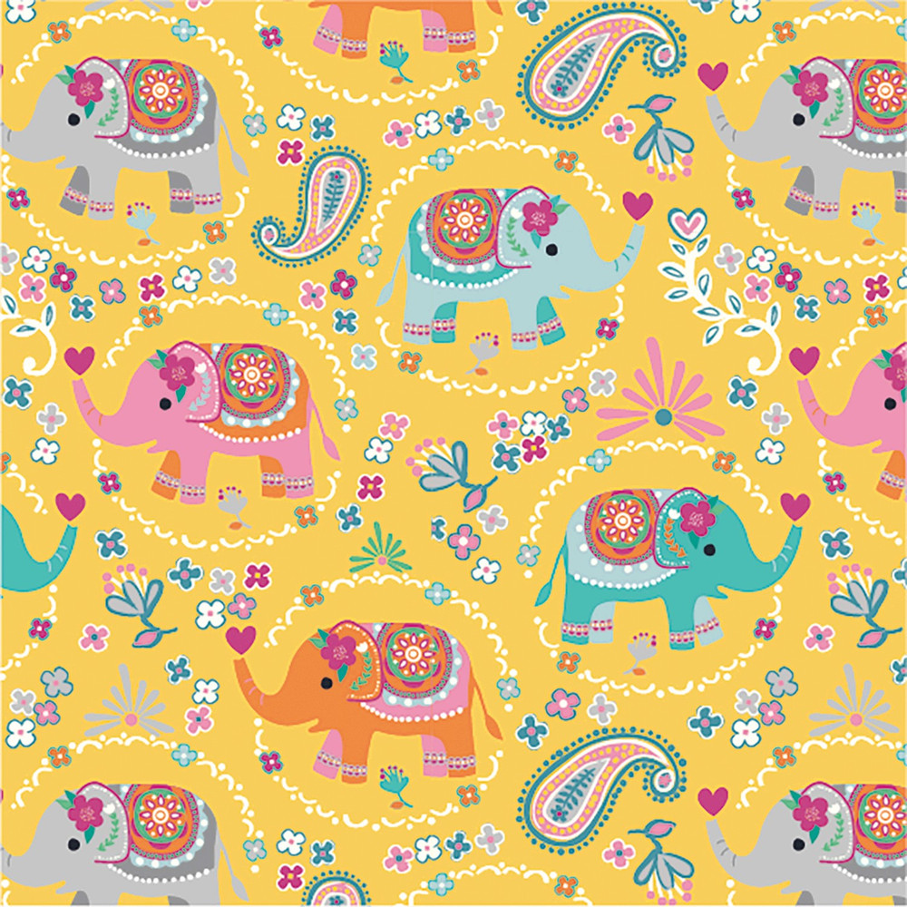 Elephant Floral on Yellow Cotton Lycra Knit