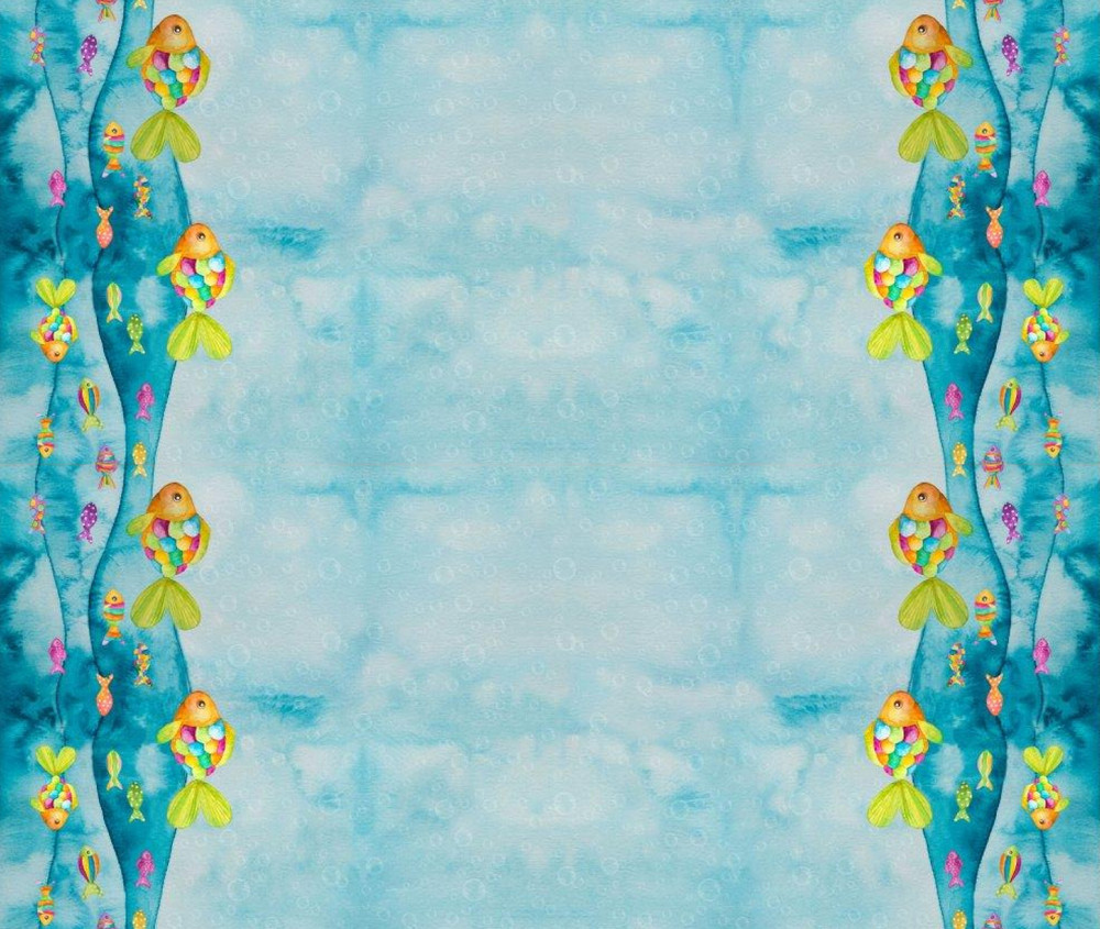Rainbow Fish Border Print Cotton Lycra