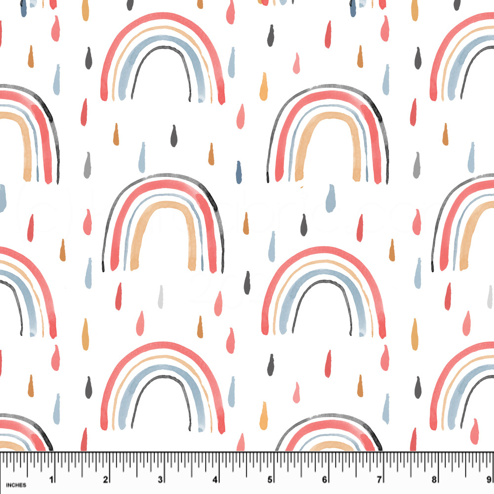 Custom Raindrops & Rainbows Cotton Lycra Knit
