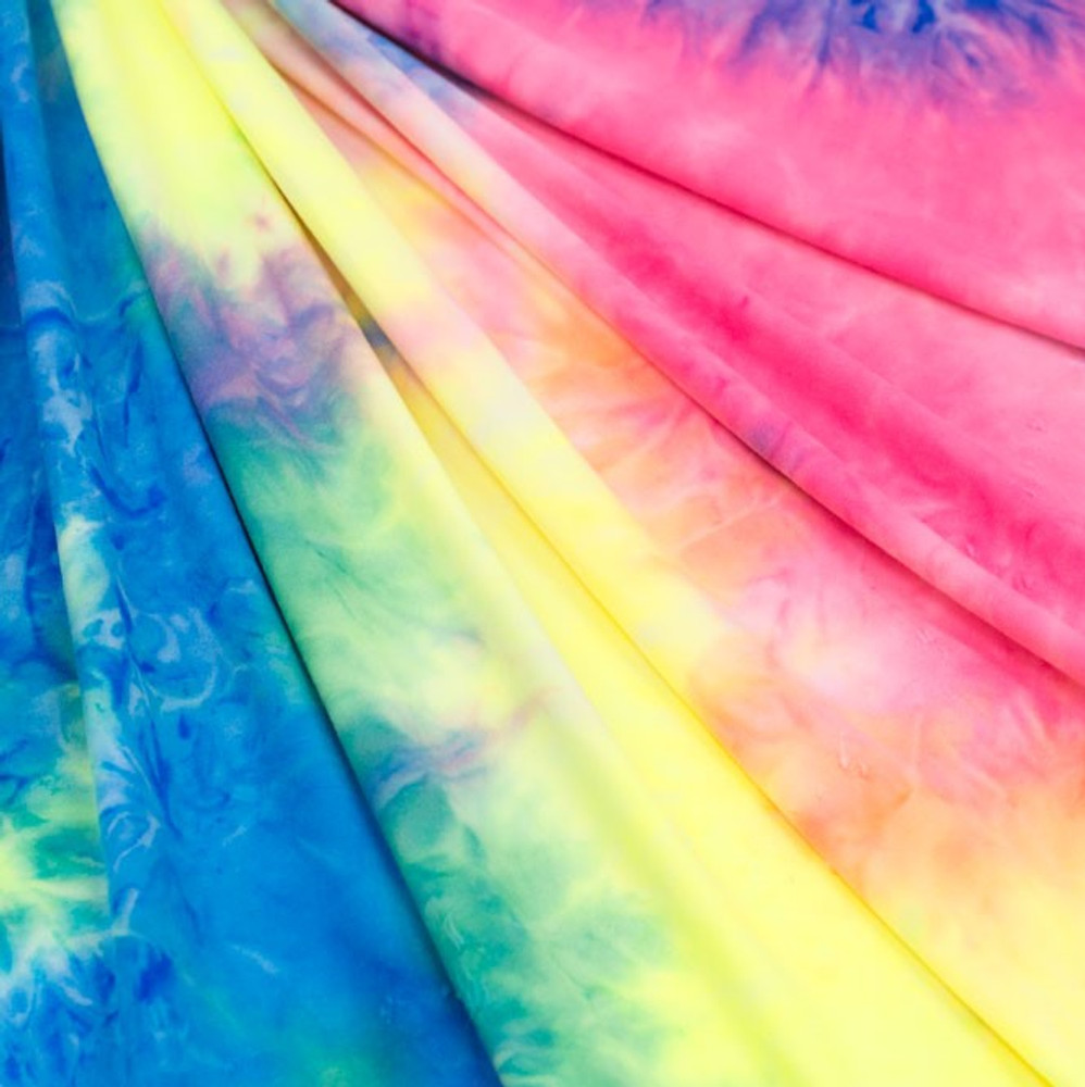 Tie Dye Rainbow Double Brushed Poly