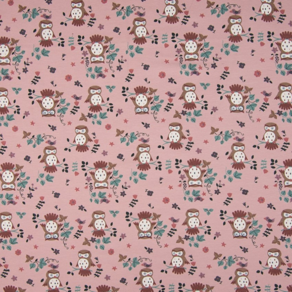 owls on dusty pink
