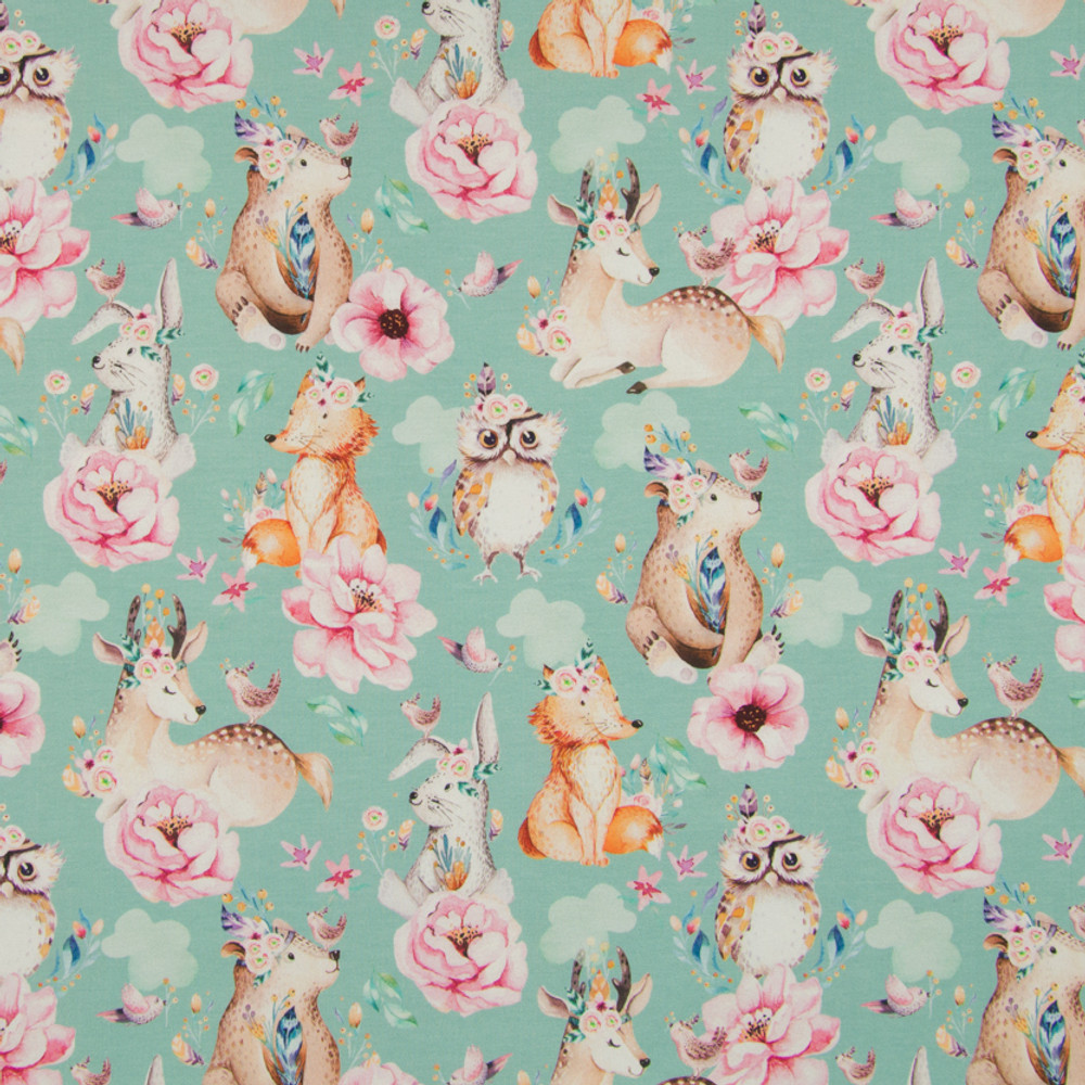 Woodland Animals and Flowers on Mint Cotton Lycra Knit