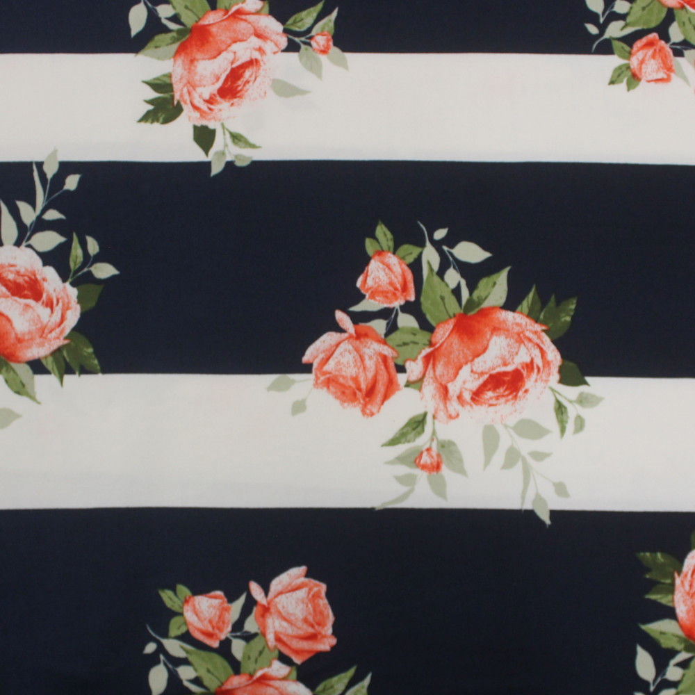 Roses on Wide Navy and White Stripes Double Brushed Poly