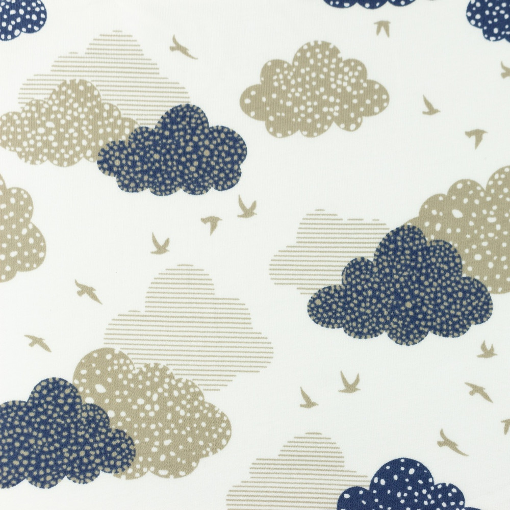 Navy and Gray Clouds Cotton Lycra Knit