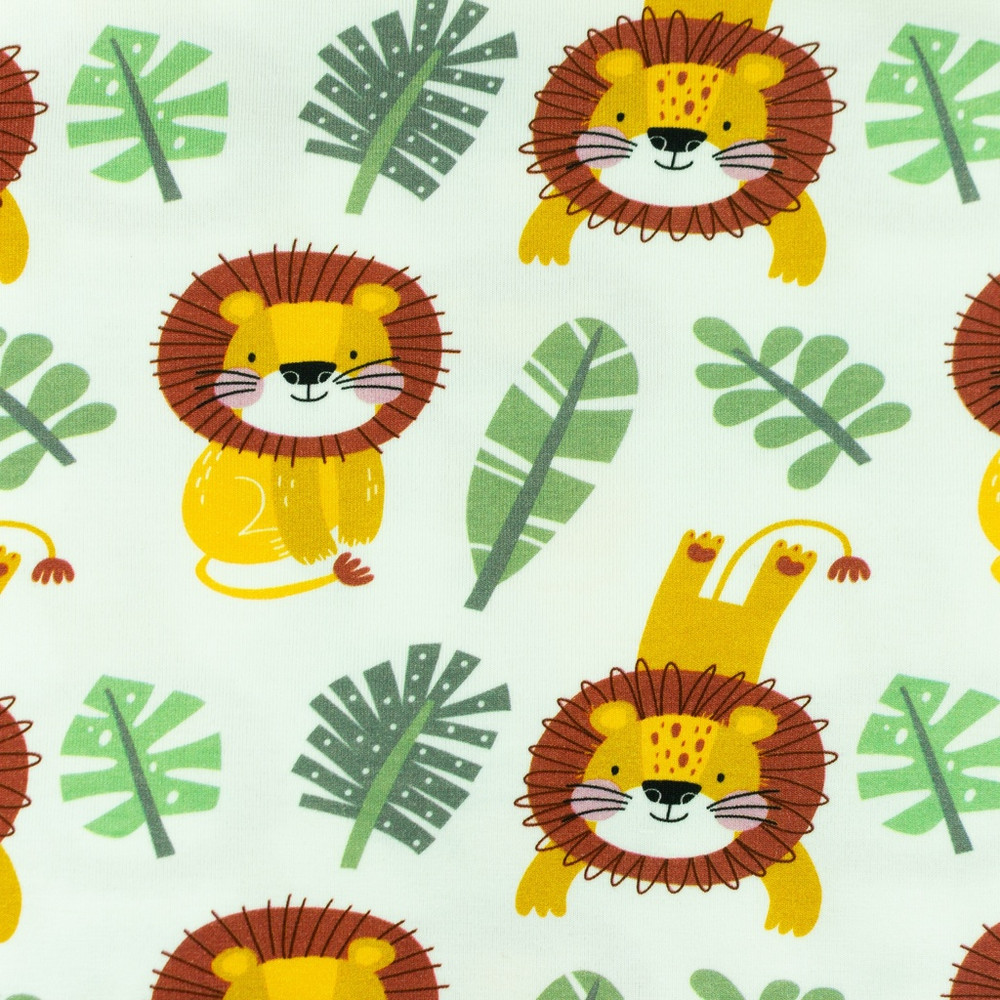 Lions and Monstera Leaves Cotton Lycra Knit
