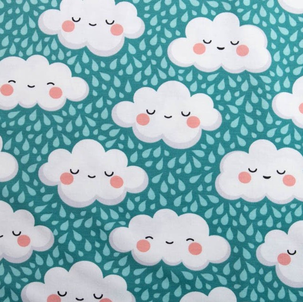 Happy Clouds on Aqua Cotton Lycra Knit