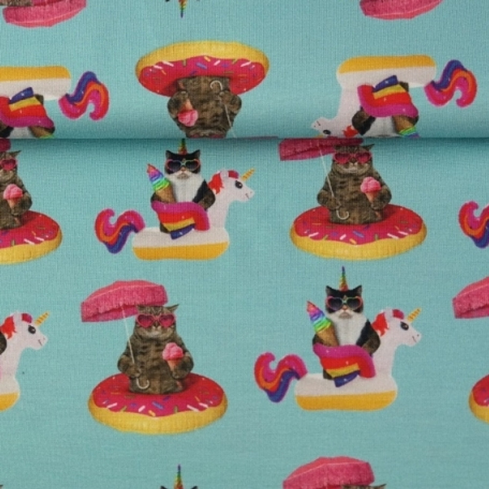 Pool Party Cats Cotton Lycra